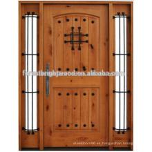 Estilo de lujo Knoty Alder Door exterior puerta de madera tallada con dos Side Lite