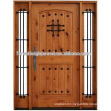 Luxury Style Knoty Alder Door Exterior Carved Wood Door with Two Side Lite