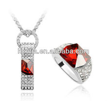 Elegant fashion jewelry sets costume jewelry rhinestones for necklaces ruby gemstone rings set