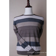 Pullover en cachemire à rayures de couleur pour hommes