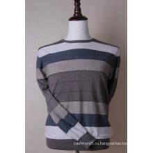 Цвет Полосатый Кашемировый Пуловер Мужчины
