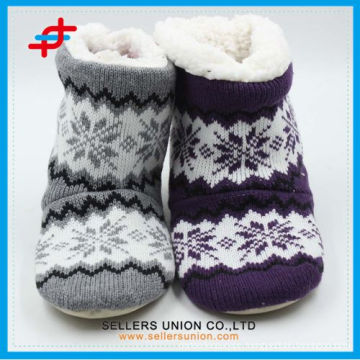 Soft Jacquard Pattern Home Felt Beautiful Lovely Winter Snow Boots Colorful Boots