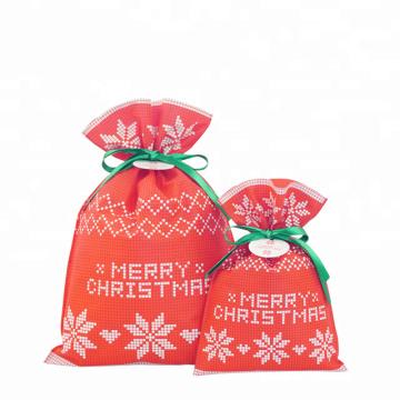 Sacos não tecidos do Natal da corda do verde da cor vermelha