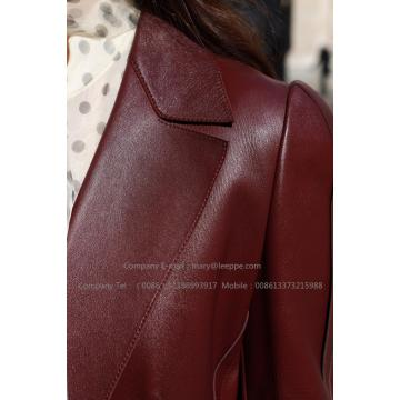 Lady's Dark Red Sheepskin Coat