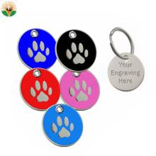 Colorful Dog Paw Shape Stainless Iron Dog Tag