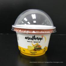 O copo plástico descartável redondo o mais novo do branco do produto comestível de 2018 PP / 230ml com tampas
