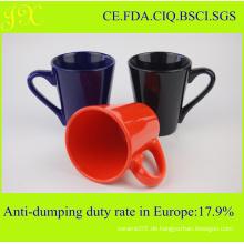 Großhandel Glasur V-Form Keramik Becher mit Griff für Kaffee
