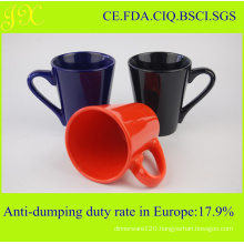 Wholesale Glaze V-Shape Ceramic Mug with Handle for Coffee