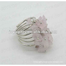 Rose Quartz chip stone wrap rings