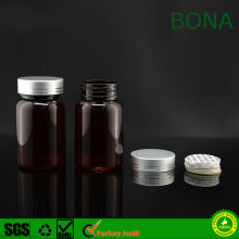 60ml 90ml 150ml Amber Plastic Pet Pill Bottle with Cap and Foil Liner or Pressure Sensitive Liner
