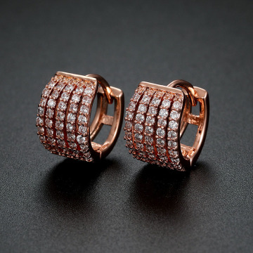 Tiny Crystal 14k Rose Gold Copper Hoop Earrings