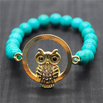 Turquoise 8MM Round Beads Stretch Gemstone Bracelet with Diamante owl alloy Piece