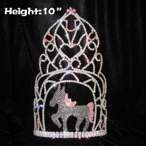 10in Height Animal Horse Rhinestones Pageant Crowns