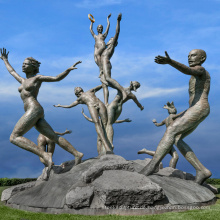 Hochwertige Wohnkultur nackte Frau Bronze Skulptur