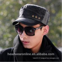 New Fashion Custom Rivets Distressed Flat-top Military Caps Usine de Dongguan