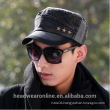 New Fashion Custom Rivets Distressed Flat-top Military Caps Dongguan Factory