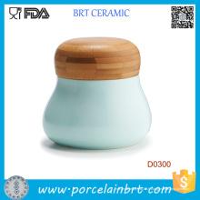 Pot de café de thé de sucre de couleur adapté aux besoins du client en gros avec le couvercle en bambou