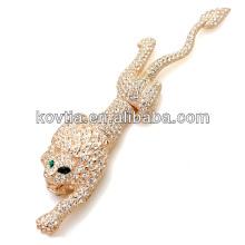 Luxuoso broche de ouro animal broche de diamante design exclusivo