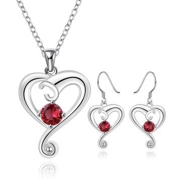 Art- und Weiseschmucksache-Satz-Herz-Form Zircon-Silber überzogene Halskette und Ohrringe