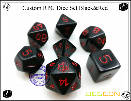 Custom RPG Dice Set Black&Red