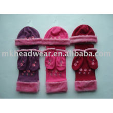 flower embroidery hat, scarf and gloves polar sets for children