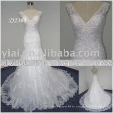 2011 la última gota elegante envío libre estilo libre del meimaid rebordeó el neckline del sweethart sirena del cordón vestido de boda nupcial JJ2364