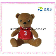 Plush Brown Teddy Bear Toy with a Red T-Shirt (XMD-F031)