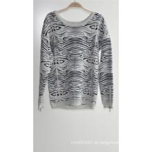 Damen-Rundhals-Pullover Patterned Strickpullover