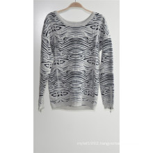 Ladies Round Neck Pullover Patterned Knit Sweater