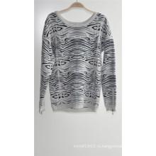Дамы круглый вырез пуловер узорный вязать свитер