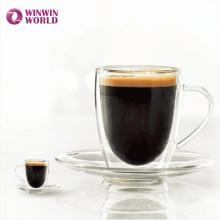 Ensemble de thé classique en verre de Borosilicate de mur de double cadeau d'Amazone pour le café expresso de café
