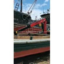 Empilhadeira, navio, barco, barco, barco, guindaste, montado, para, mini reboque, guindaste, levantamento, lança, projeto