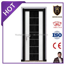 Simple Modern Wooden Melamine Finish Door with Aluminium Decoration