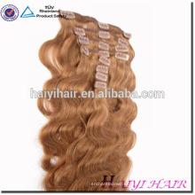 Etiqueta privada Calidad superior Grado 6A 7A 8A Clip doble sin procesar dibujado en extensiones de cabello humano de trama de piel