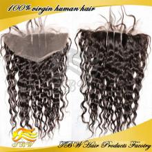 """Оптовая 2014 горячей продажи человеческих волос закрытие 13x4"""" три часть кружева лобной части волос"""