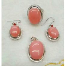 Fashion Pink Opal Jewellery Set (S3330)