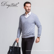 Suéter hecho punto hecho a mano al por mayor del jersey con cuello en V de la marca para los hombres de negocios