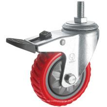 Rueda de la rueda de la PU antideslizante de servicio mediano (rojo) (Y3208)
