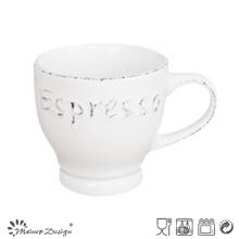 Taza de café espresso de 3 oz con diseño de borde cepillado