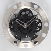 Relógios de parede de aço inoxidável clássico da engrenagem pretos