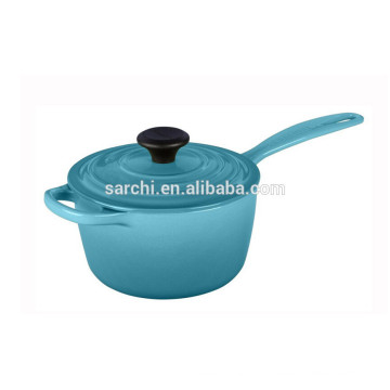 Colorful Enamel cast iron sauce pan with one long handle