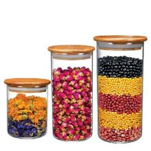 Кухня герметичные антипригарные масла воск контейнер стеклянный Опарник хранения с крышкой Бамбук