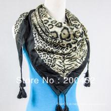Lenço quadrado de algodão de seda com tassel