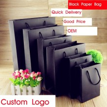 Black customs cloth paper bag with good price