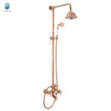 KDS-02M de alta qualidade de latão sólido triplo chuveiro de mão pequeno rosa dourado conjunto de chuveiro de água fria e quente
