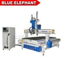 Eléphant bleu 1325 manuel cnc routeur machine à bois, contreplaqué cnc machine de découpe avec 3 broches pneumatiques