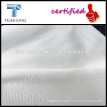 Tissus à armure sergé coton blanc tissé sergé spandex tissu/blanc africain tissu tissé/spandex