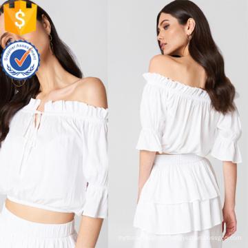Blanco fuera del hombro manga tres cuartos manga con volantes verano Top fabricación al por mayor moda mujer ropa (TA0086T)