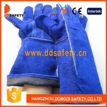 Guantes para soldador, palma reforzada dividida de vaca azul (DLW616)