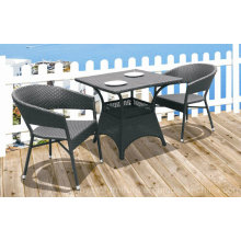 Outdoor Patio Restaurant Chaise Bistro Table Brown PE Résine Rattan Wicker Loisirs Mobilier 2 + 1
